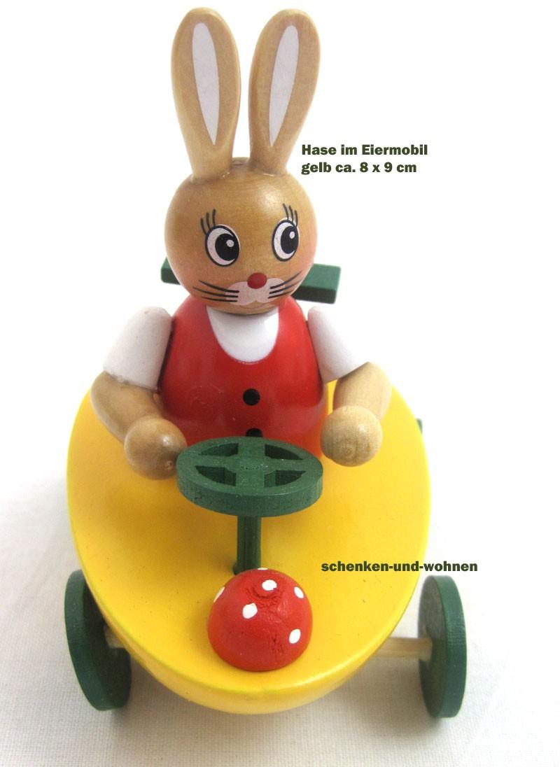 'Osterhase im Auto 8cm Holz bemalt