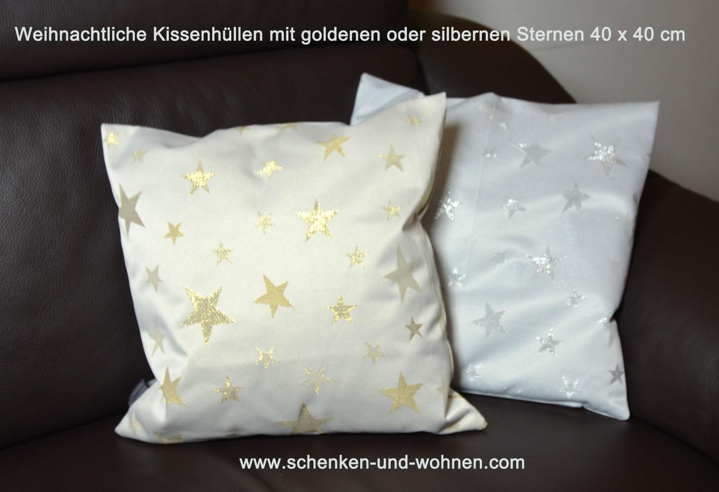 Kissenhülle 40 x 40 cm mit goldenen Sternen