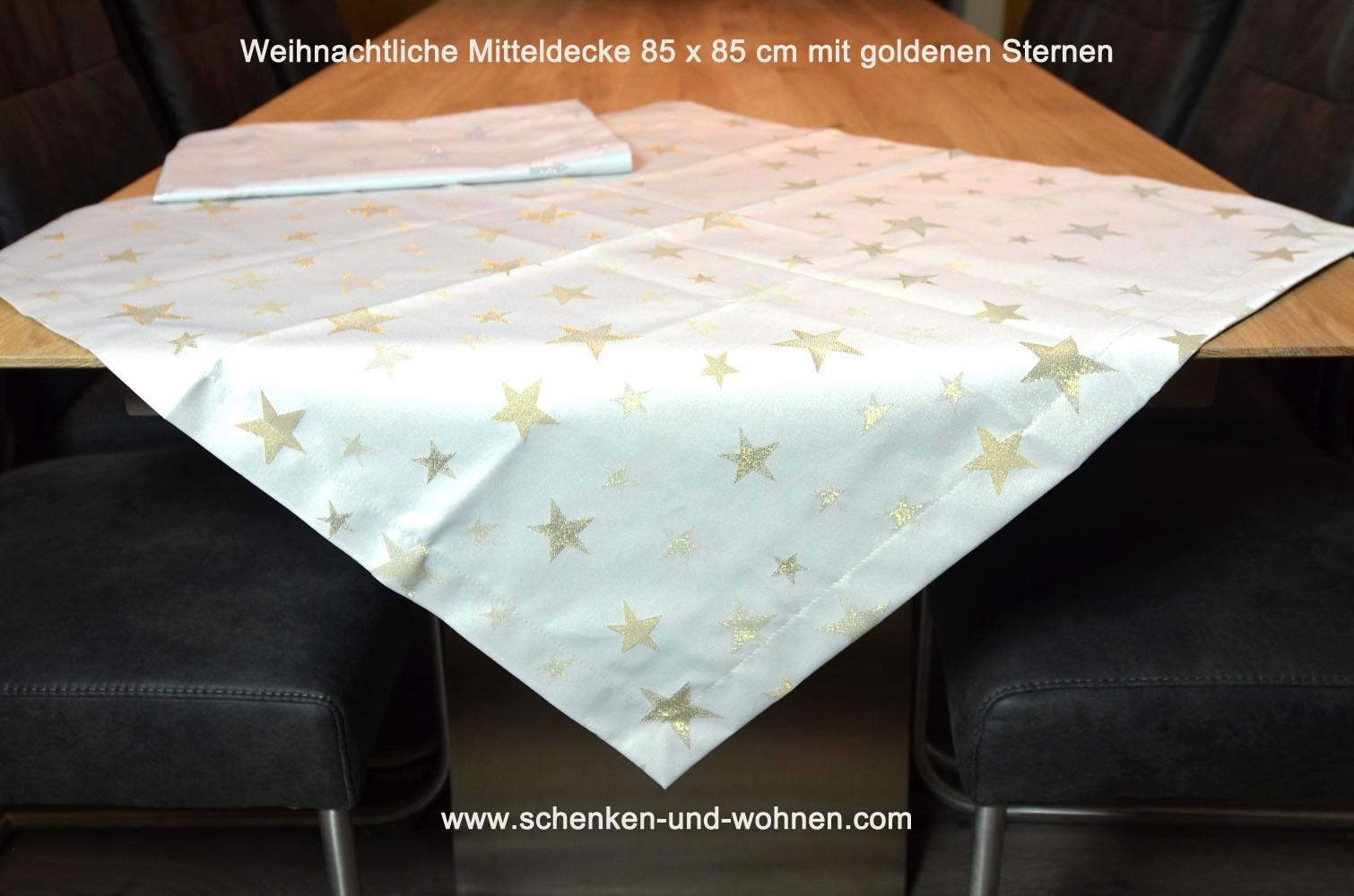 Mitteldecke 85 x 85 cm Sterne gold