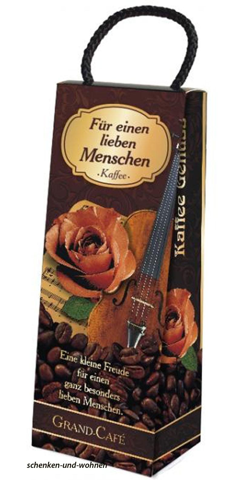 Kaffee-Box im Geschenkkarton und Tragekordel mit 75 g Filterkafee Melange