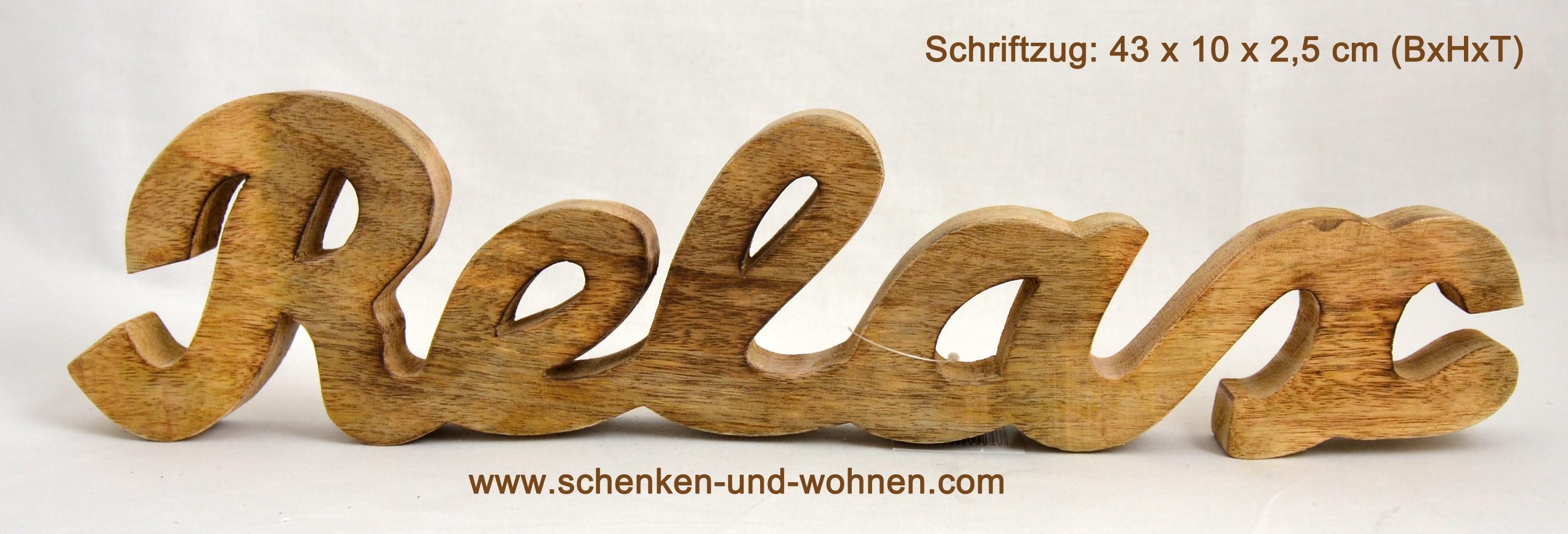 Schriftzug Aufsteller Holz Relax 43 x 10 x 2,5 cm (BxHxT)