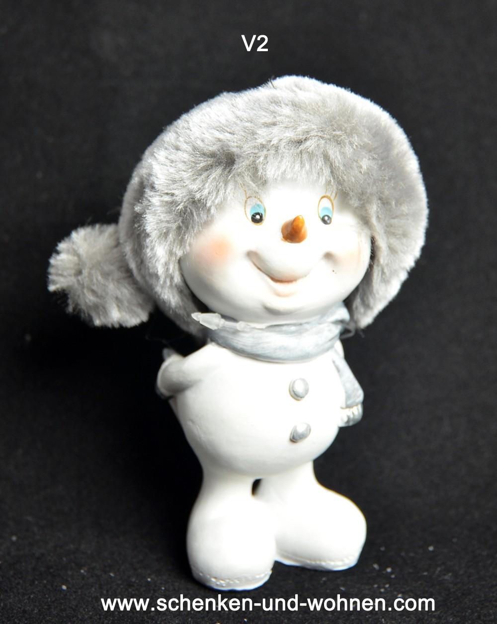 Lustiger Schneemann mit Fellmütze V2 ca. 11 cm