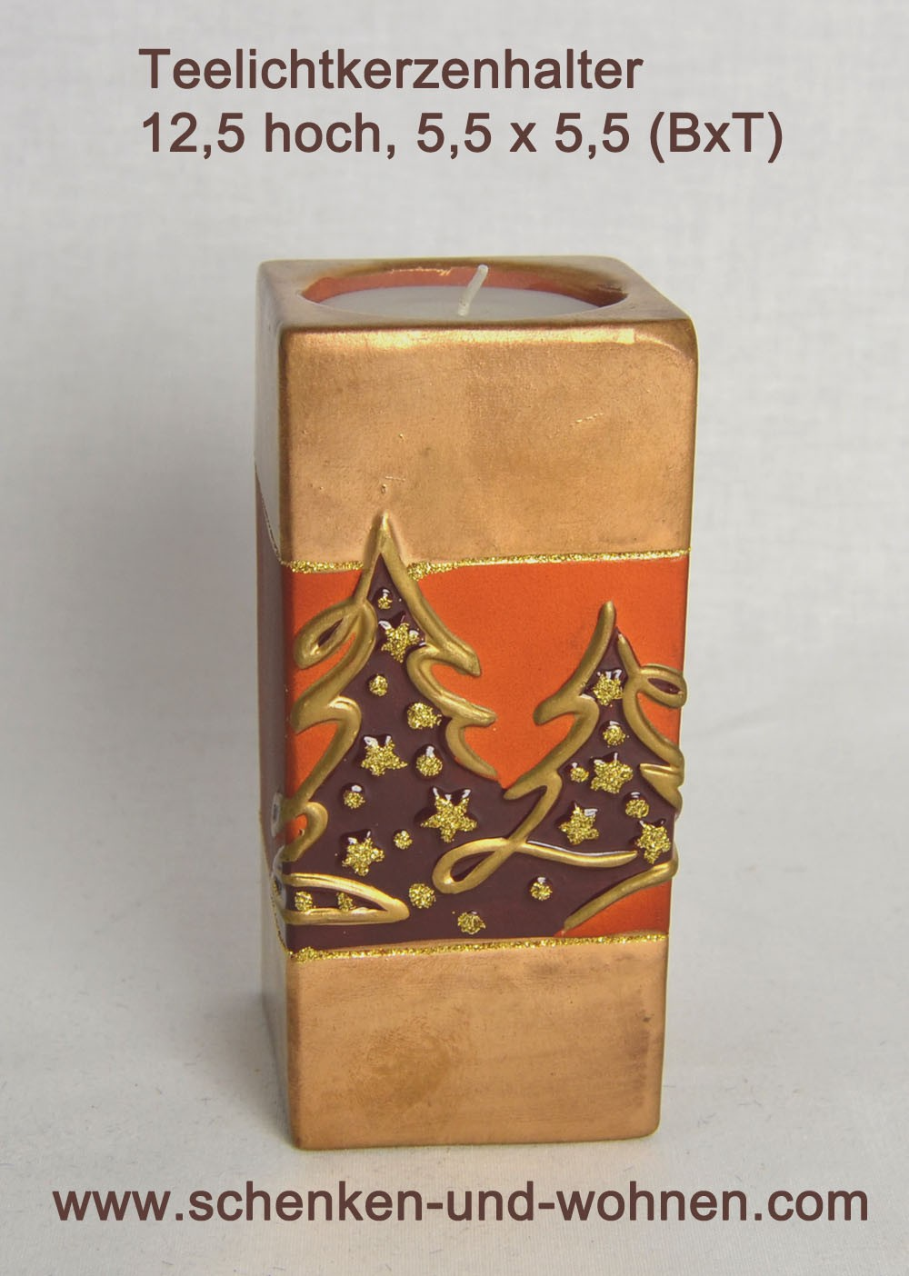 Teelichthalter antikgold Keramik 12,5x5,5x5,5 (HxBxT)
