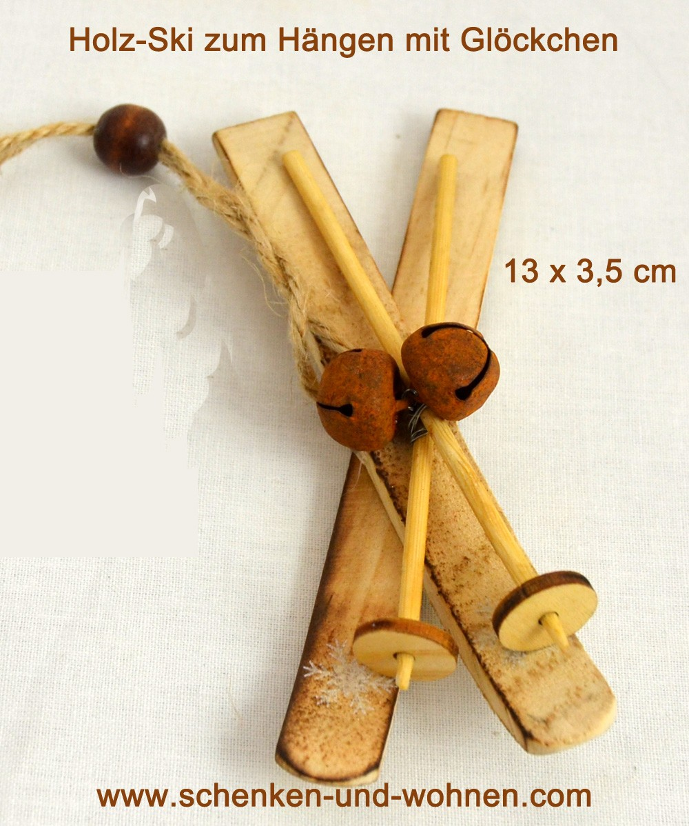 Holz-Ski mit Glocken ca. 3,5 x 13 cm natur/rost