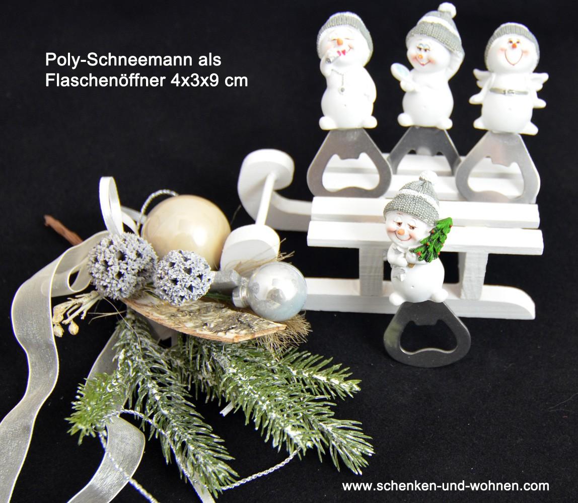 Poly-Schneemann als Flaschenöffner 4x3x9 cm grau, sortiert