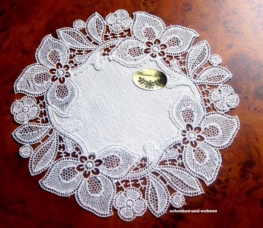Plauener Spitze - Deckchen creme ca. 20 cm Durchmesser