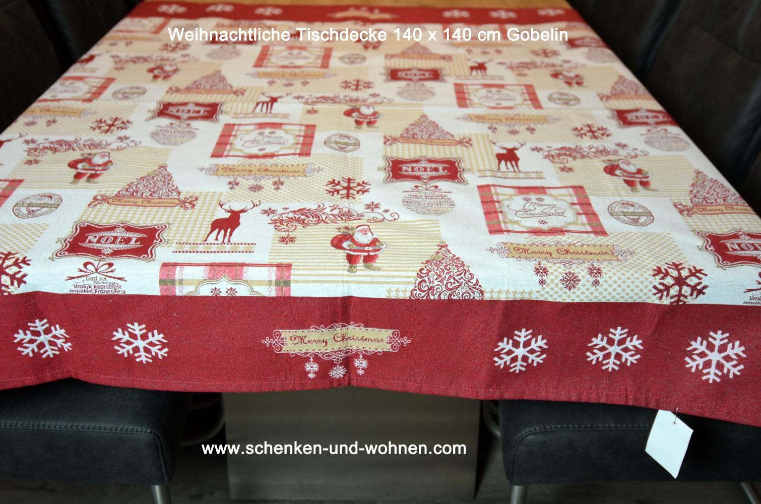 Weihnachtsdecke Tischdecke 140 x 140 cm Gobelin