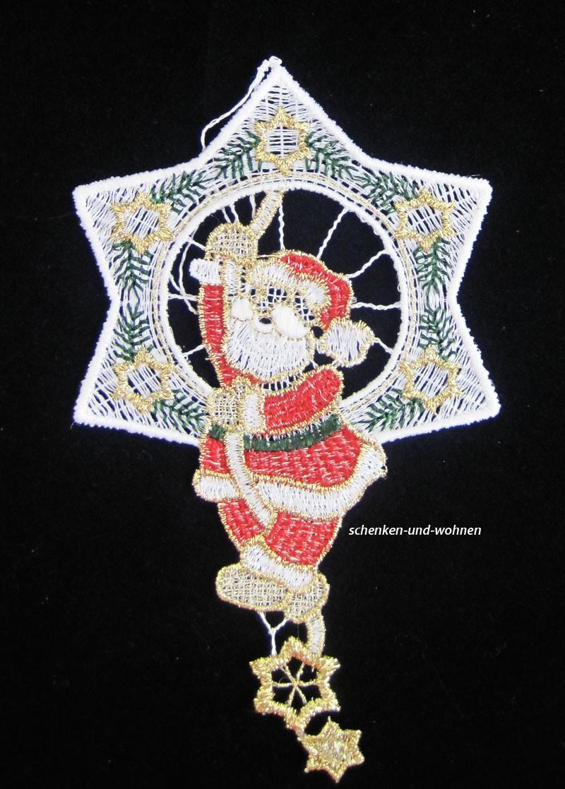 Plauener Spitze Baumbehang Weihnachtsmann im Stern ca. 11 x 16 cm B/H