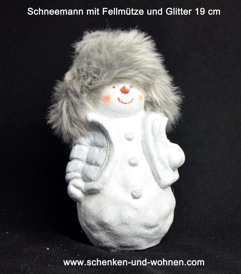 Schneemann mit Fellmütze und Glitter 19 cm