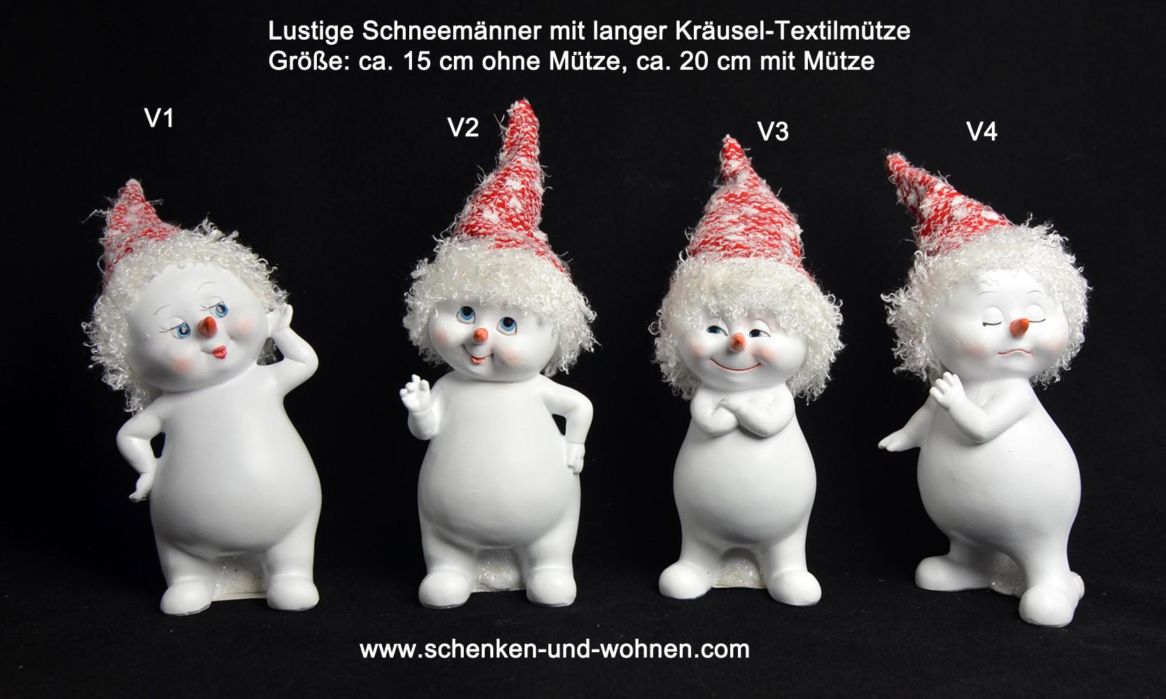 Schneemann mit langer gekräuselter Textilmütze ca. 15-20 cm V1