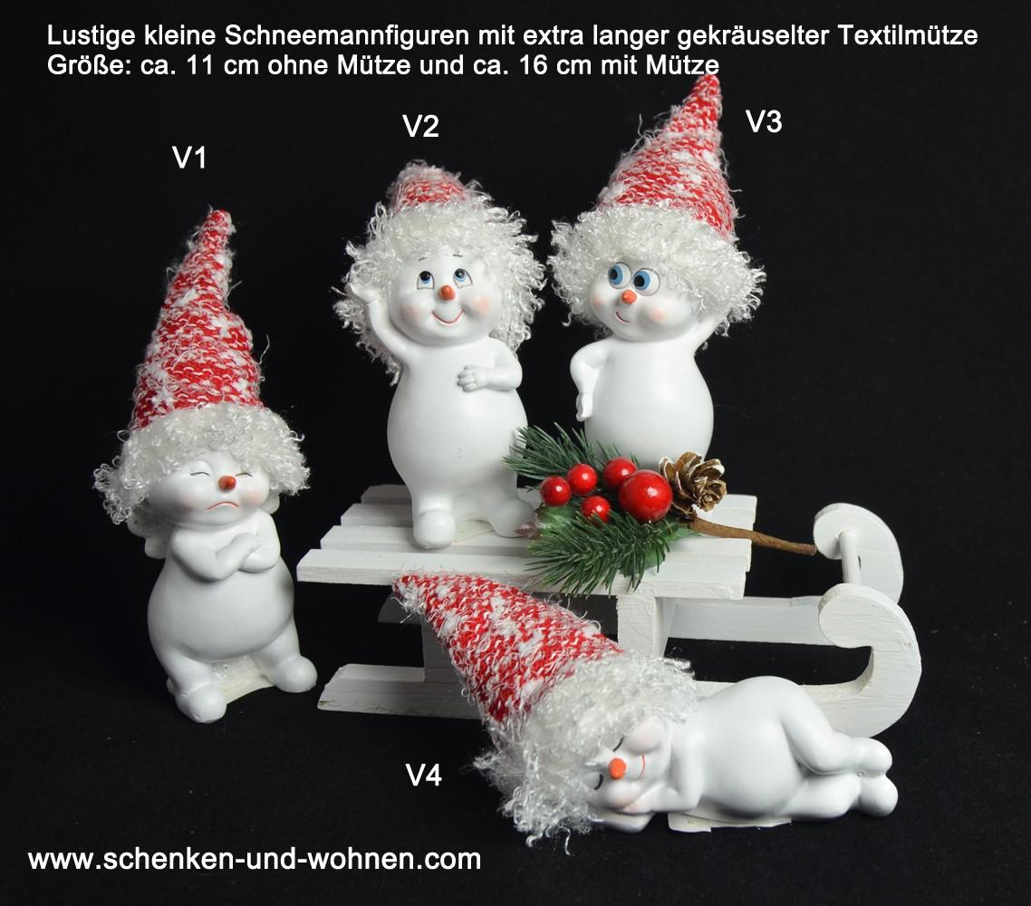 Schneemann mit langer gekräuselter Textilmütze ca. 11-16 cm V3