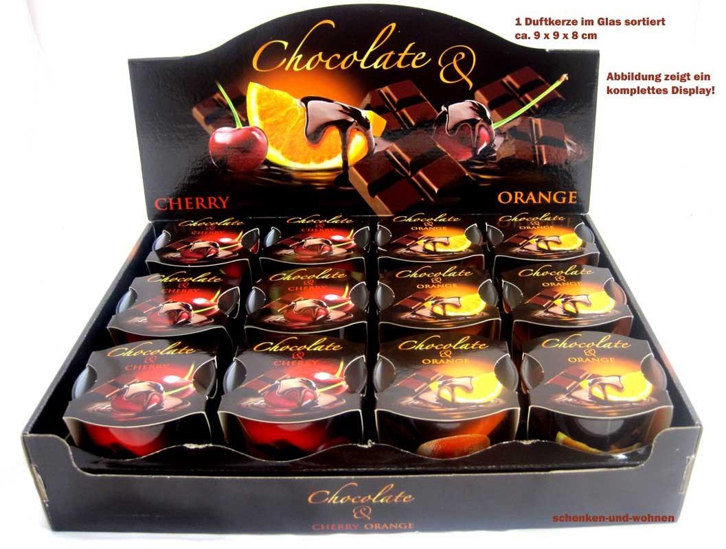"""1 Duftkerze im Glas  """"Chocolate-Cherry"""" ca. 9 x 9 x 8 cm"""