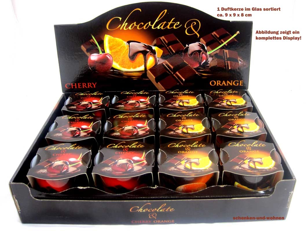 """1 Duftkerze im Glas  """"Chocolate-Orange"""" ca. 9 x 9 x 8 cm"""