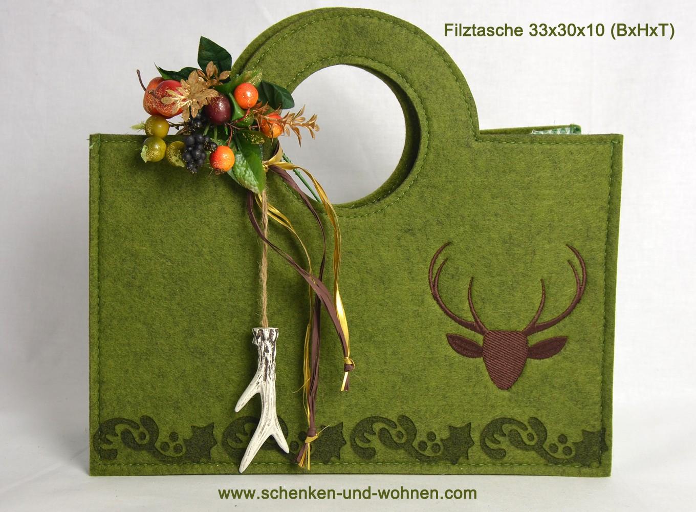 Filztasche mit Hirschmotiv grün 33x30x10 (BxHxT)