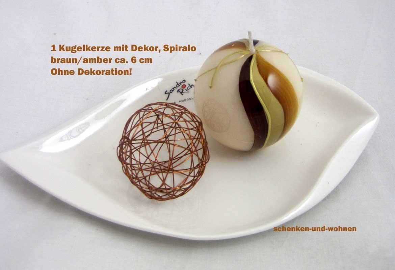 Kugelkerze mit Dekor, Spiralo Braun / Amber ca. 6 cm Durchmesser
