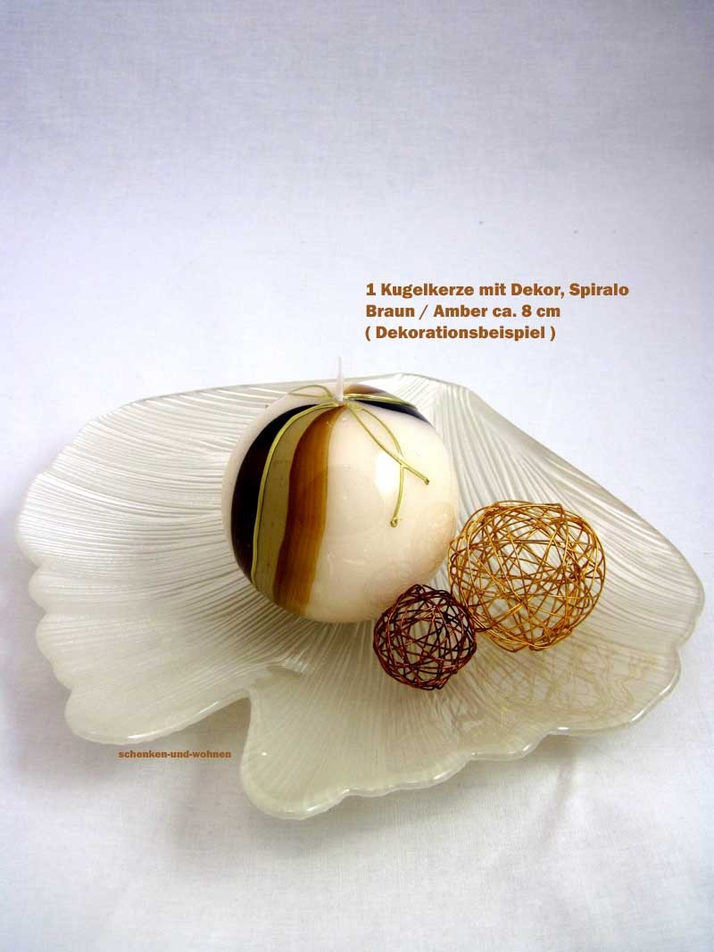 Kugelkerze mit Dekor, Spiralo Braun / Amber ca. 8 cm Durchmesser