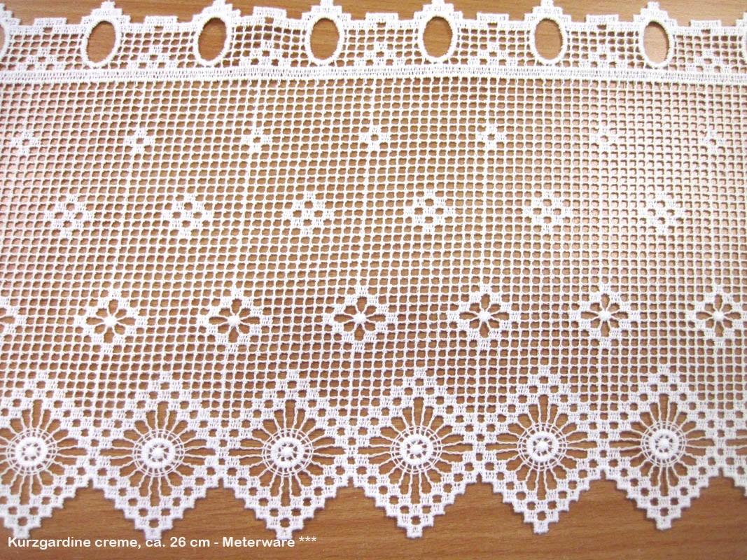 Kurzgardine - Panneaux im Landhausstil natur, ca. 26 cm hoch - Meterware