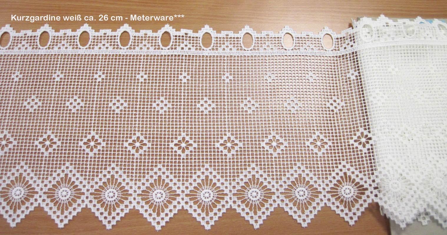Kurzgardine - Panneaux im Landhausstil weiß, ca. 26 cm hoch - Meterware