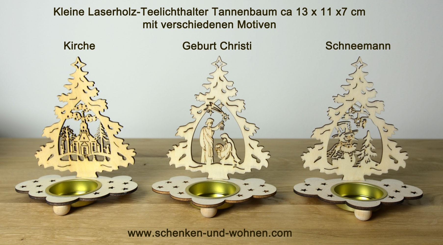 Laserholz-Teelichthalter Tanne mit Motiv Schneemann 13 x 11 x 7 cm (HxBxT)