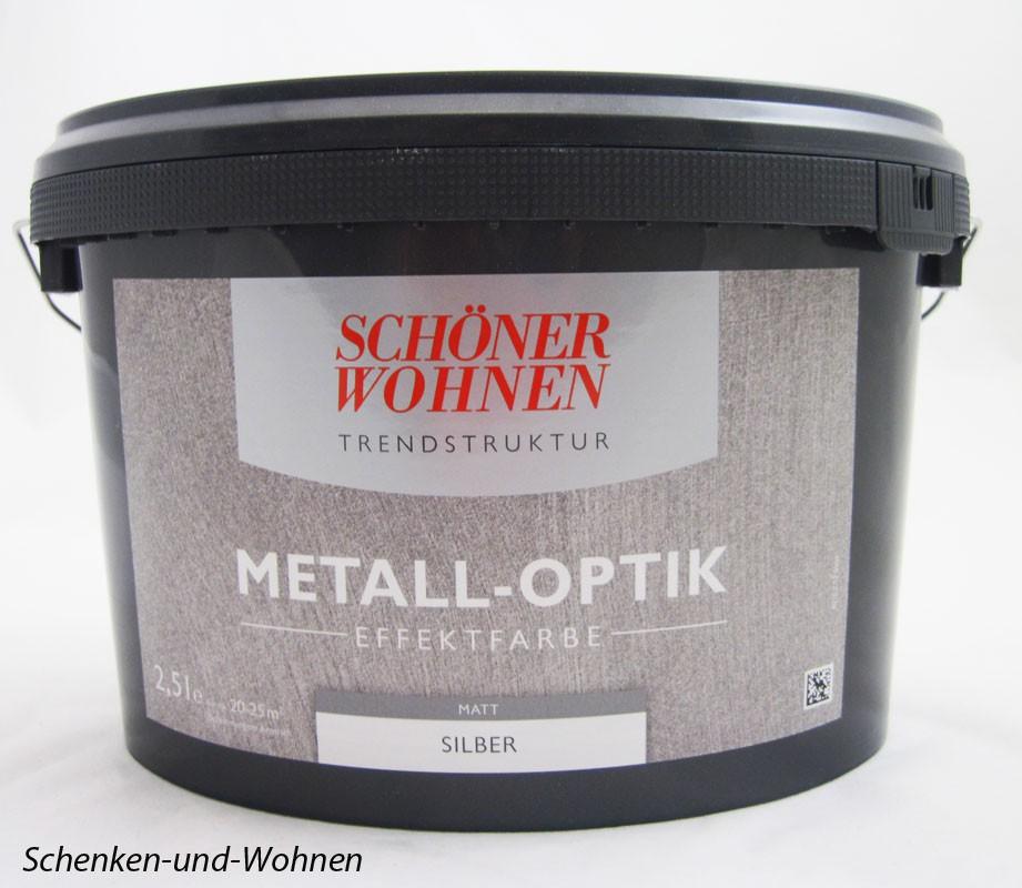 Schöner Wohnen Farbe Metall Optik Effektfarbe Silber: Metall-Optik Effektfarbe Silber Matt 2,5 L