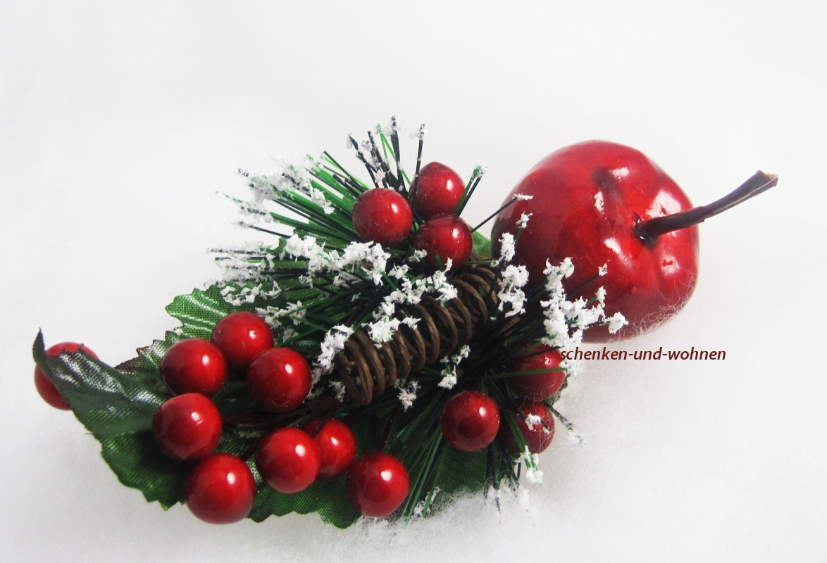"""Künstlicher Pick """"Illex"""" rot /grün verschneit, Beeren/Apfel  ca. 16 cm"""