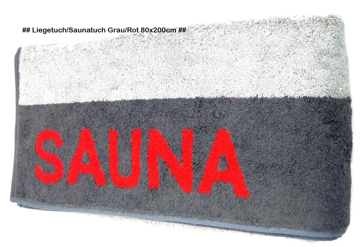Saunatuch Liegetuch Grau/Rot ca. 80 x 200cm, mit Aufhängeschlaufe