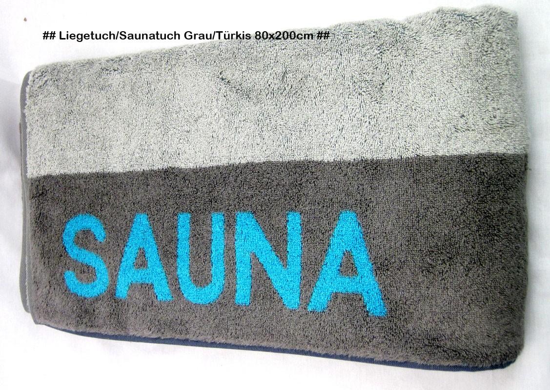 Saunatuch Liegetuch Grau/Türkis ca. 80 x 200cm, mit Aufhängeschlaufe