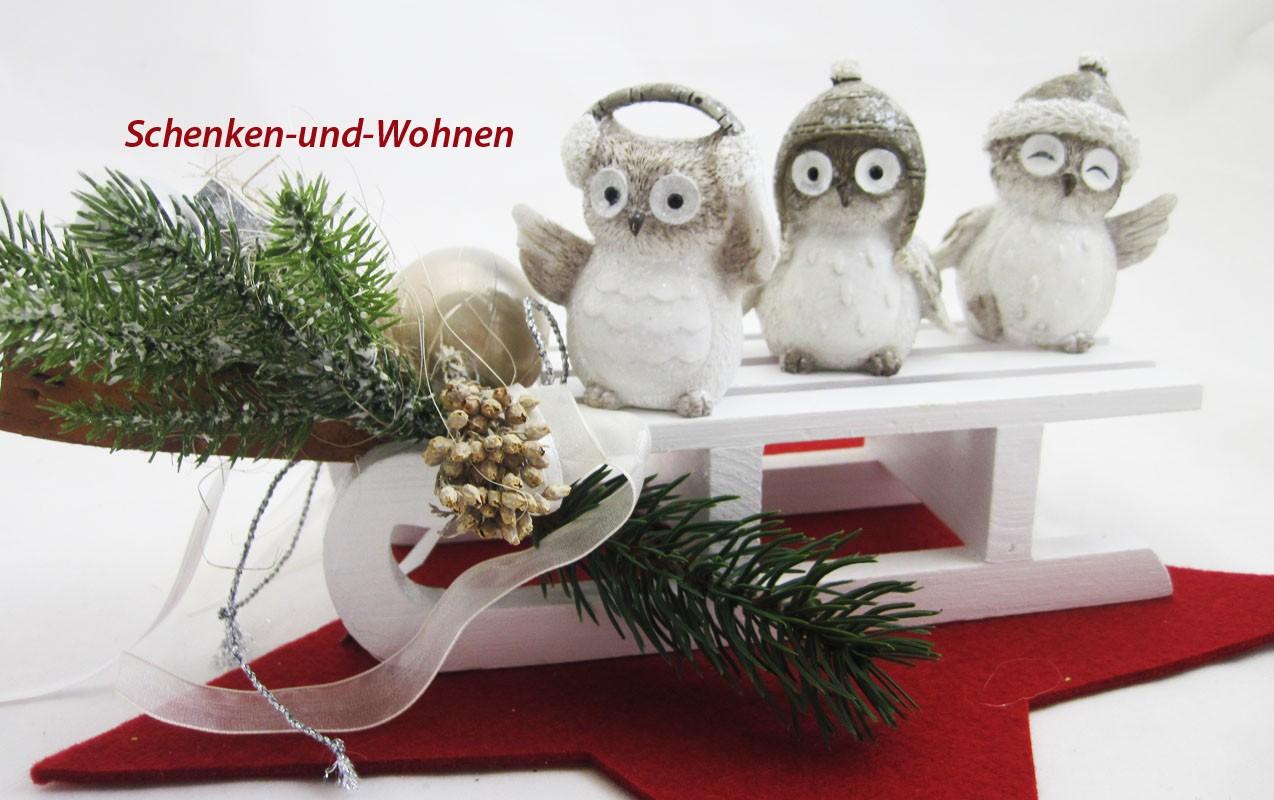 deko schnee eulen 3er set winter wei grau ca 7 cm schenken und. Black Bedroom Furniture Sets. Home Design Ideas