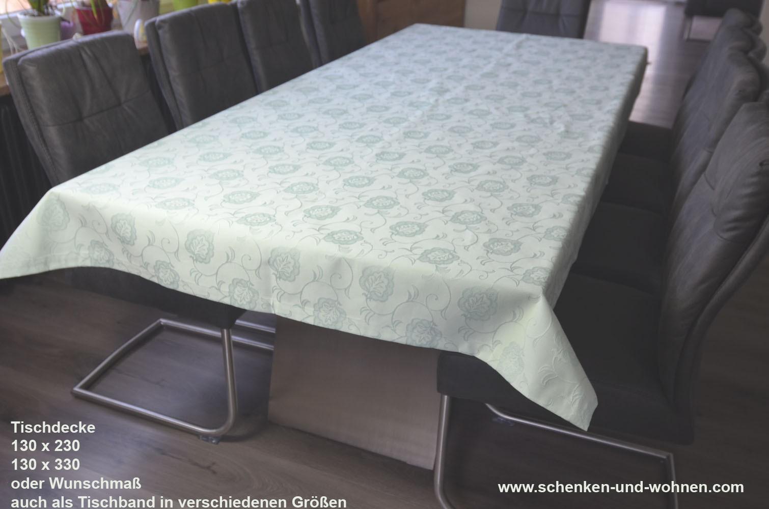 Tischwäsche Tischdecke 130 x 330 cm schilfgrün