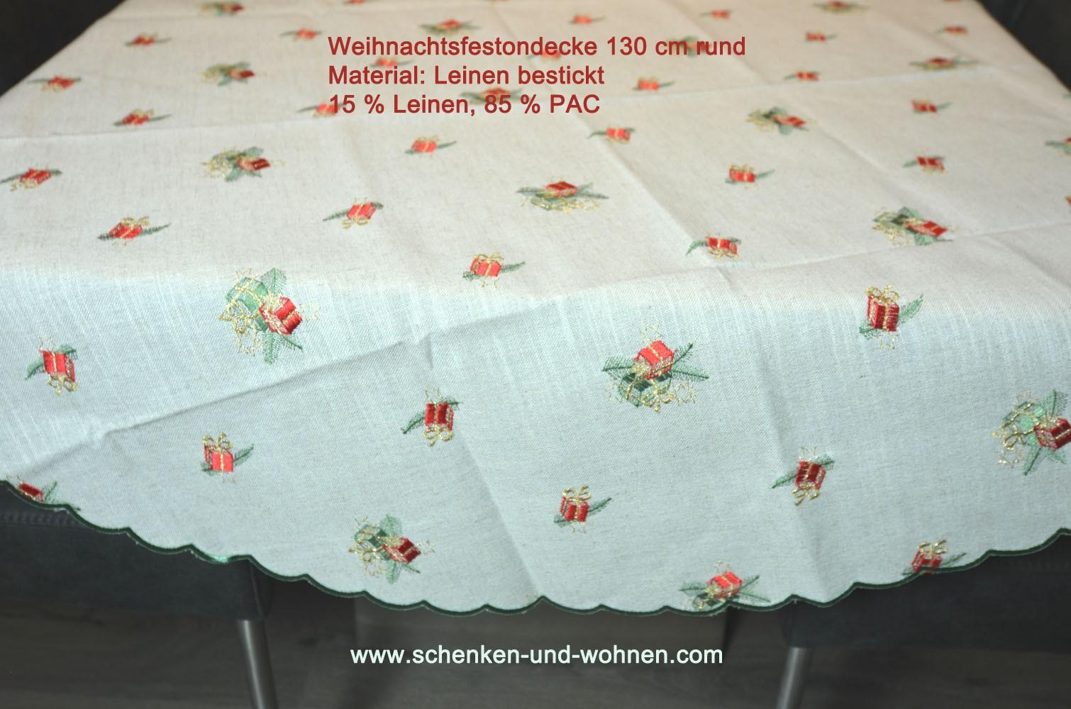 Weihnachtsdecke Tischdecke rund Durchmesser 130 cm