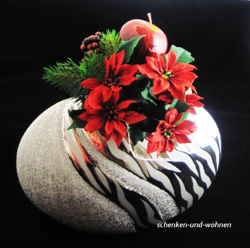 """Keramik-Vase flach """"Wave"""" silber matt/glanz ca. 21 cm hoch"""