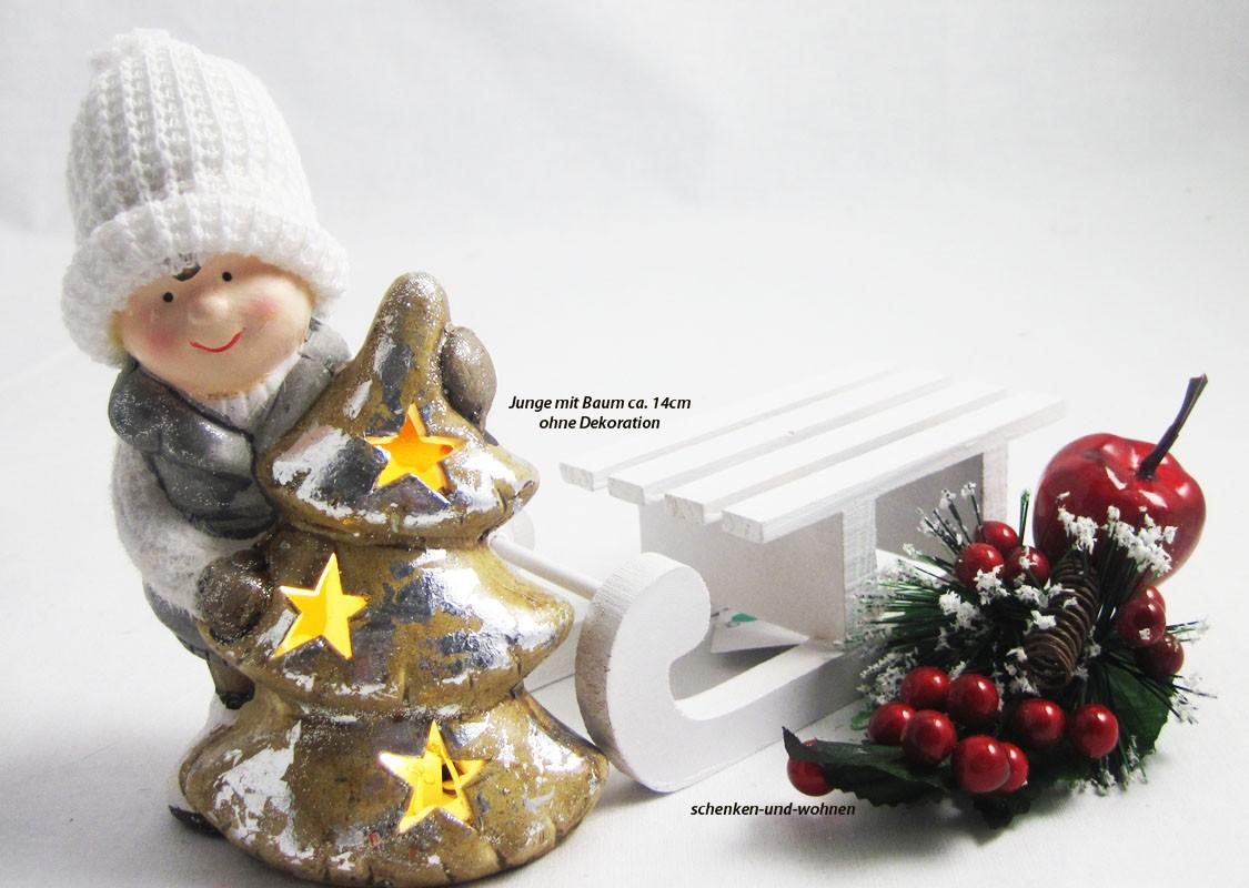 1 Winterkind Junge mit LED-Tannenbaum, weiß/braun  Höhe ca. 14cm