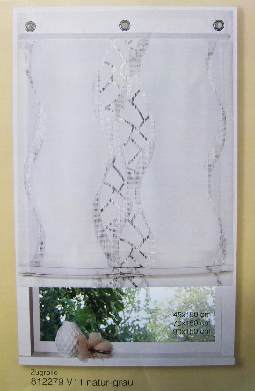 zugrollo raffrollo natur grau 45 x 150 cm schenken und. Black Bedroom Furniture Sets. Home Design Ideas