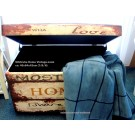 Sitztruhe Home im Vintage - Look,  Deckel klappbar ca. 40 x 64 x 42 cm(T/B/H)