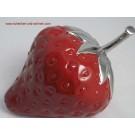 Keramik Erdbeere rot / silber 26cm