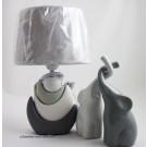 Keramik Sichellampe Grau - Weiß ca. 12,0 x 20,5 x 33,0 cm (T/B/H)