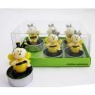 6er Set Teelichte Biene gelb-schwarz, 2fach sortiert