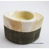 Keramik  T-Lichtleuchter Marmoria beige / braun ca.6 x 10 x 7 cm (T/B/H)