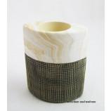 Keramik  T-Lichtleuchter Marmoria beige / braun ca.6 x 10 x 12 cm (T/B/H)