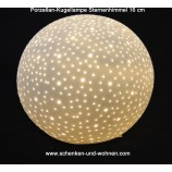 Porzellan Kugellampe Sternenhimmel weiss 18 x 18 x 16 cm (BxTxH)