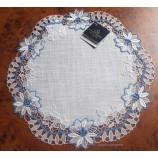 Deckchen - Plauener Spitze - blau/creme ca. 30 cm Durchmesser