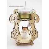 Laserholz-Teelichthalter mit Engelsfigur mit Buch ca. 12 x 8 x 8 cm