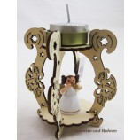 Laserholz-Teelichthalter mit Engelsfigur mit Flöte ca. 12 x 8 x 8 cm
