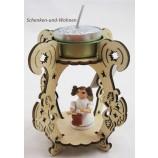 Laserholz-Teelichthalter mit Engelsfigur mit Trommel ca. 12 x 8 x 8 cm