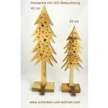 Tanne Holz natur geflammt mit LED ca. 43 cm