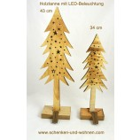 Tanne Holz natur geflammt mit LED ca. 34 cm