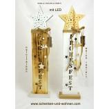 LED-Holzsäule/Ständer mit Stern und Deko weiss lasiert ca. 53 x 12 x 6 cm