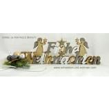 Schriftzug Aufsteller Holz Frohe Weihnachten ca. 40x14x2,5 cm (BxHxT)