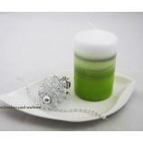 Stumpenkerze Spirale grün, silber, weiß ca. rd. 7 x 11 cm