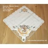Deckchen 40 x 40 cm Plauener Spitze Satin sekt-kupfer